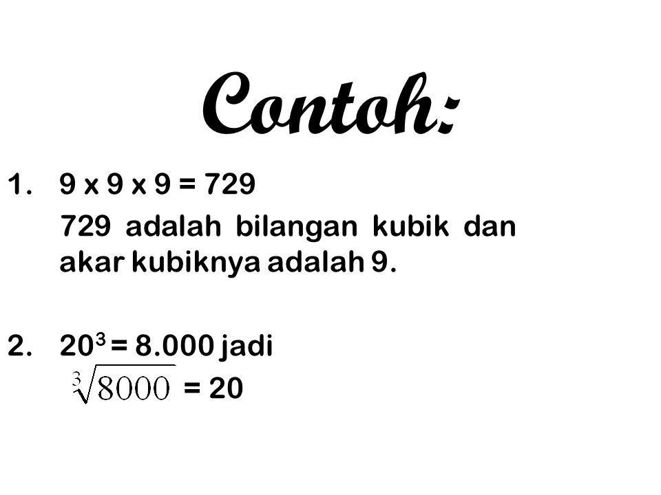 5 bilangan pertama dari urutan bilangan kubik adalah: 1, 8, 27, 64 dan 125