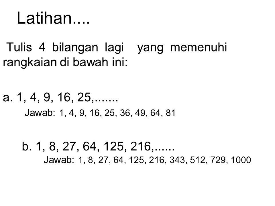 Contoh: 1.9 x 9 x 9 = 729 729 adalah bilangan kubik dan akar kubiknya adalah 9. 2.20 3 = 8.000 jadi = 20