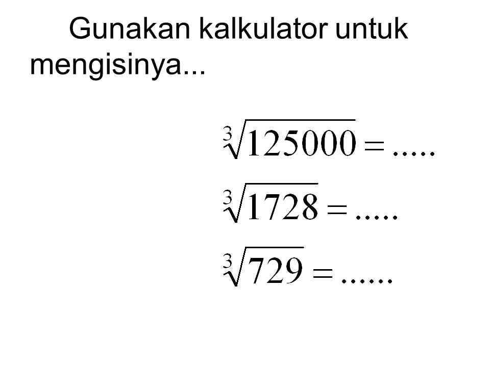 Latihan.... Tulis 4 bilangan lagi yang memenuhi rangkaian di bawah ini: a. 1, 4, 9, 16, 25,....... Jawab: 1, 4, 9, 16, 25, 36, 49, 64, 81 b. 1, 8, 27,