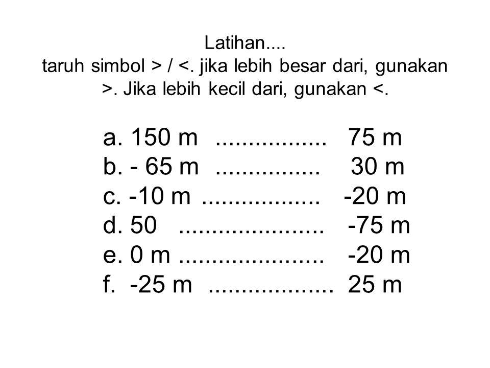 Contoh: (-3) + ( -2 ) = -3 – 2 = -5 karena + ketemu – menjadi – 3 - ( -2 ) = 3 + 2 = 5 karena – ketemu – menjadi +