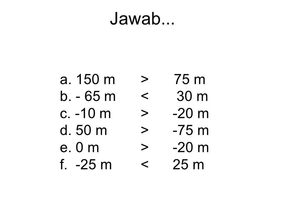 Latihan.... taruh simbol > /. Jika lebih kecil dari, gunakan <. a. 150 m.................75 m b. - 65 m................ 30 m c. -10 m.................