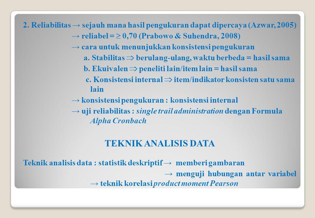 2. Reliabilitas → sejauh mana hasil pengukuran dapat dipercaya (Azwar, 2005) → reliabel =  0,70 (Prabowo & Suhendra, 2008) → cara untuk menunjukkan k