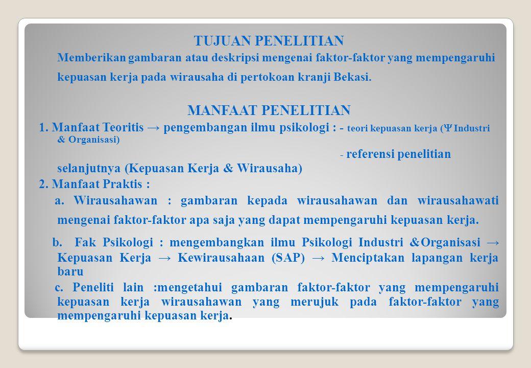 KEPUASAN KERJA 1.Definisi (dalam Triton, 2007) : penilaian perasaan pekerja terhadap pekerjaannya.