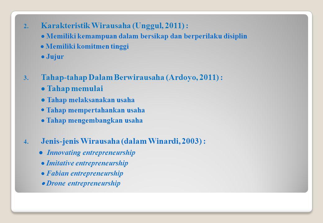2. Karakteristik Wirausaha (Unggul, 2011) :  Memiliki kemampuan dalam bersikap dan berperilaku disiplin  Memiliki komitmen tinggi  Jujur 3. Tahap-t