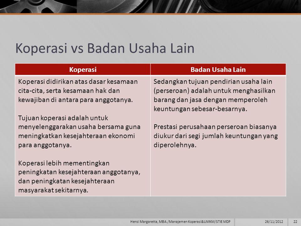 Koperasi vs Badan Usaha Lain KoperasiBadan Usaha Lain Koperasi didirikan atas dasar kesamaan cita-cita, serta kesamaan hak dan kewajiban di antara para anggotanya.
