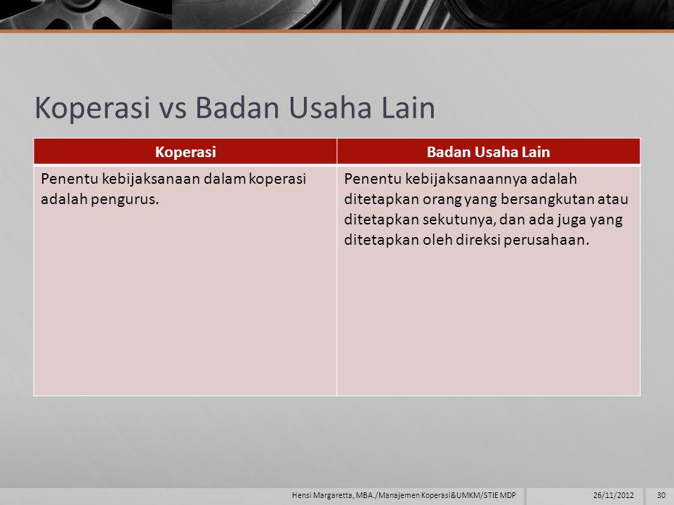 Koperasi vs Badan Usaha Lain KoperasiBadan Usaha Lain Penentu kebijaksanaan dalam koperasi adalah pengurus.
