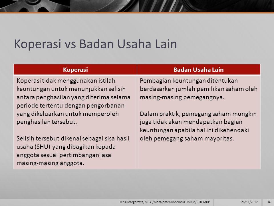 Koperasi vs Badan Usaha Lain KoperasiBadan Usaha Lain Koperasi tidak menggunakan istilah keuntungan untuk menunjukkan selisih antara penghasilan yang diterima selama periode tertentu dengan pengorbanan yang dikeluarkan untuk memperoleh penghasilan tersebut.