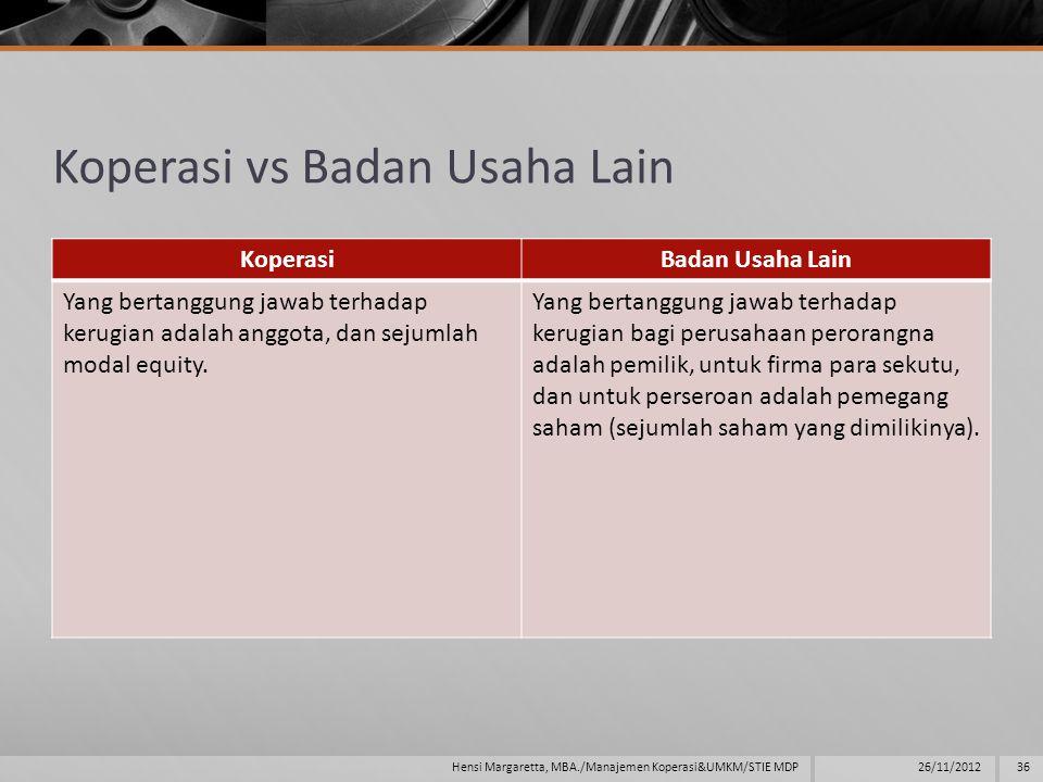 Koperasi vs Badan Usaha Lain KoperasiBadan Usaha Lain Yang bertanggung jawab terhadap kerugian adalah anggota, dan sejumlah modal equity.