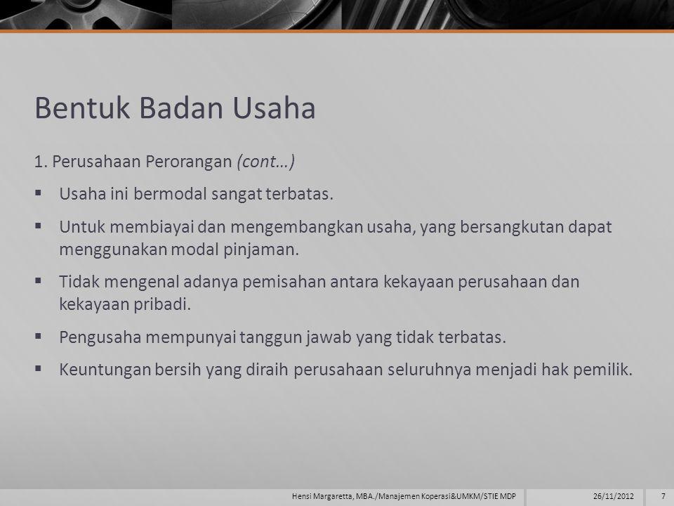 Bentuk Badan Usaha 5.