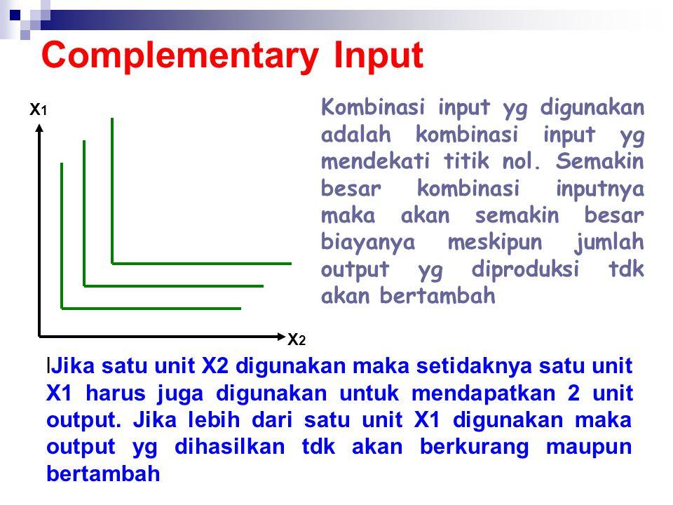 Complementary Input X2X2 X1X1 Kombinasi input yg digunakan adalah kombinasi input yg mendekati titik nol. Semakin besar kombinasi inputnya maka akan s