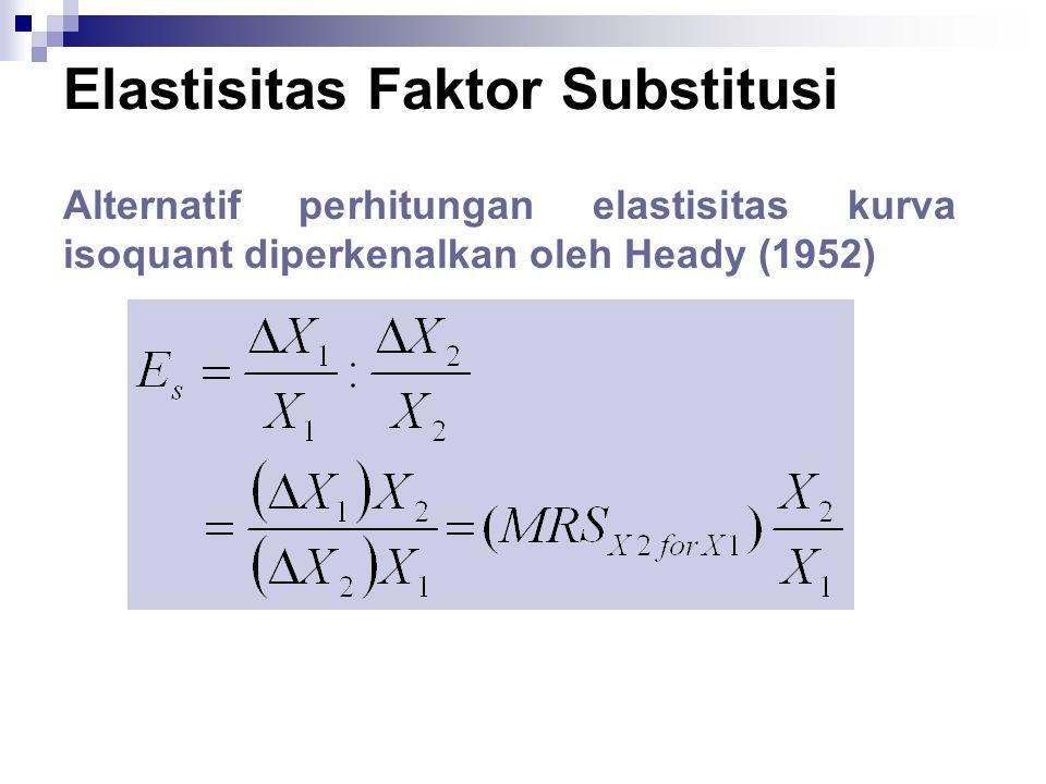 Alternatif perhitungan elastisitas kurva isoquant diperkenalkan oleh Heady (1952)