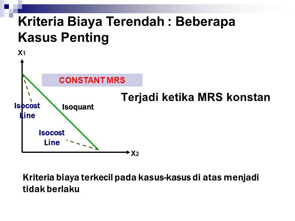 Terjadi ketika MRS konstan Kriteria Biaya Terendah : Beberapa Kasus Penting X2X2 X1X1 CONSTANT MRS Isoquant Isocost Line Isocost Line Kriteria biaya t