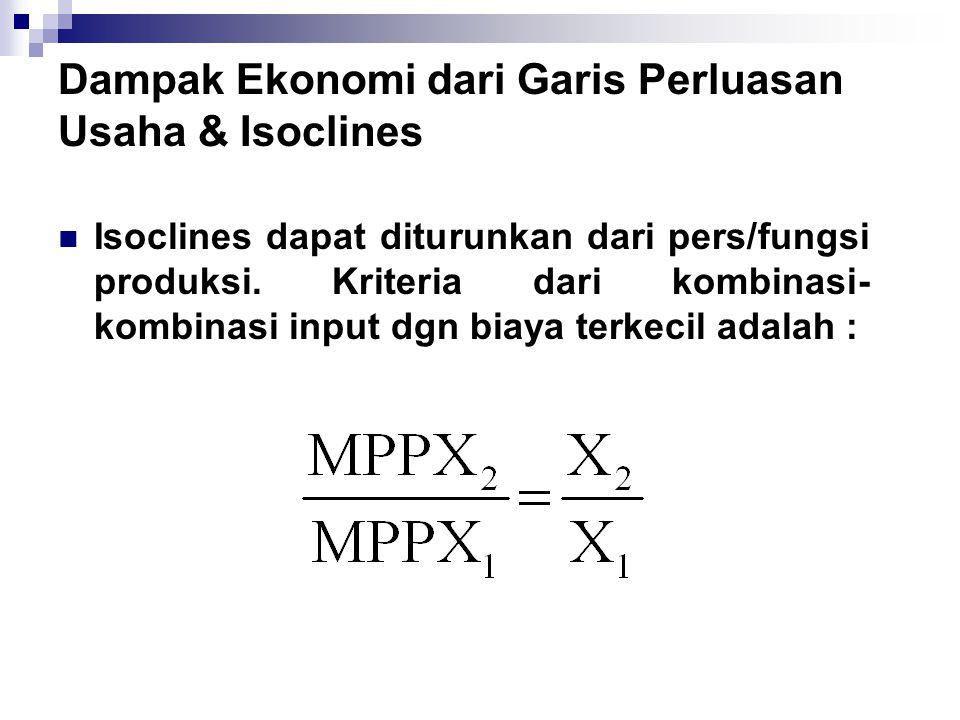 Dampak Ekonomi dari Garis Perluasan Usaha & Isoclines  Isoclines dapat diturunkan dari pers/fungsi produksi. Kriteria dari kombinasi- kombinasi input