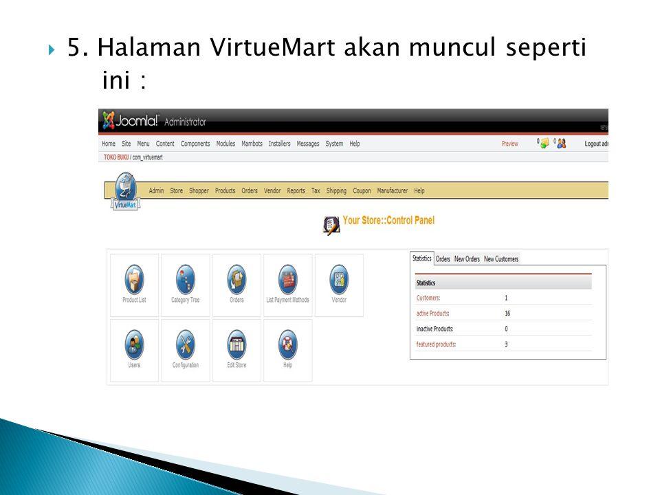  5. Halaman VirtueMart akan muncul seperti ini :