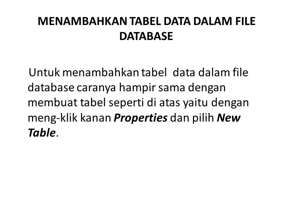MENAMBAHKAN TABEL DATA DALAM FILE DATABASE Untuk menambahkan tabel data dalam file database caranya hampir sama dengan membuat tabel seperti di atas y