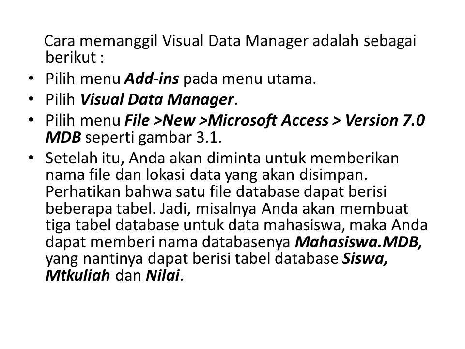 Cara memanggil Visual Data Manager adalah sebagai berikut : • Pilih menu Add-ins pada menu utama. • Pilih Visual Data Manager. • Pilih menu File >New