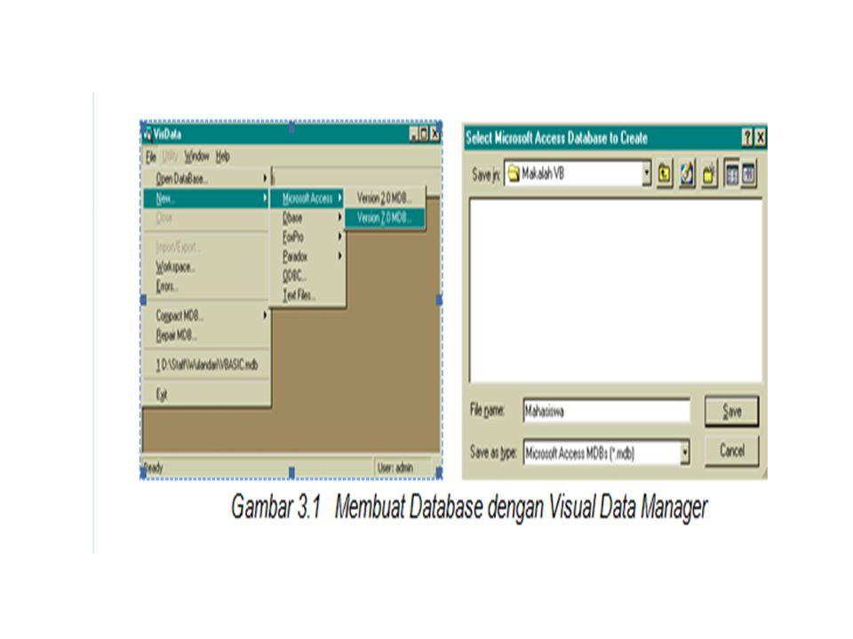 • Setelah Anda tentukan nama databasenya pilihlah Save.