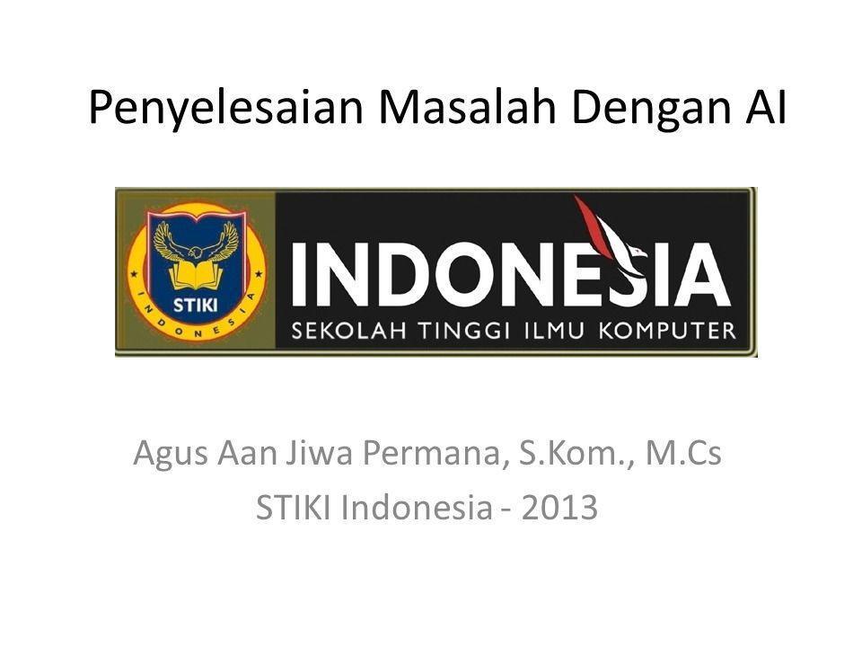 Penyelesaian Masalah Dengan AI Agus Aan Jiwa Permana, S.Kom., M.Cs STIKI Indonesia - 2013