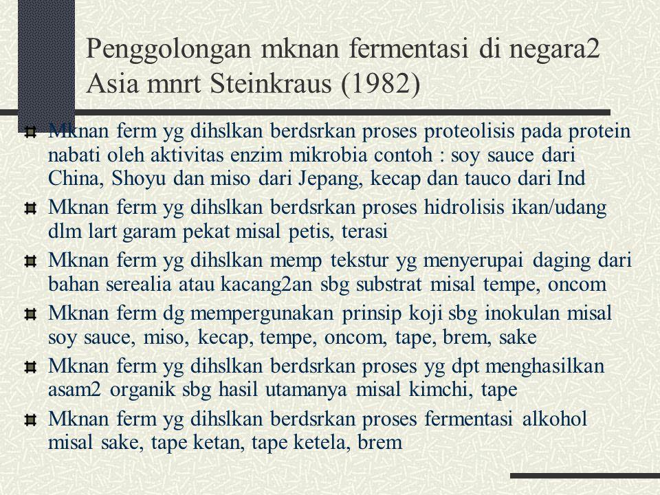 Penggolongan mknan fermentasi di negara2 Asia mnrt Steinkraus (1982) Mknan ferm yg dihslkan berdsrkan proses proteolisis pada protein nabati oleh akti