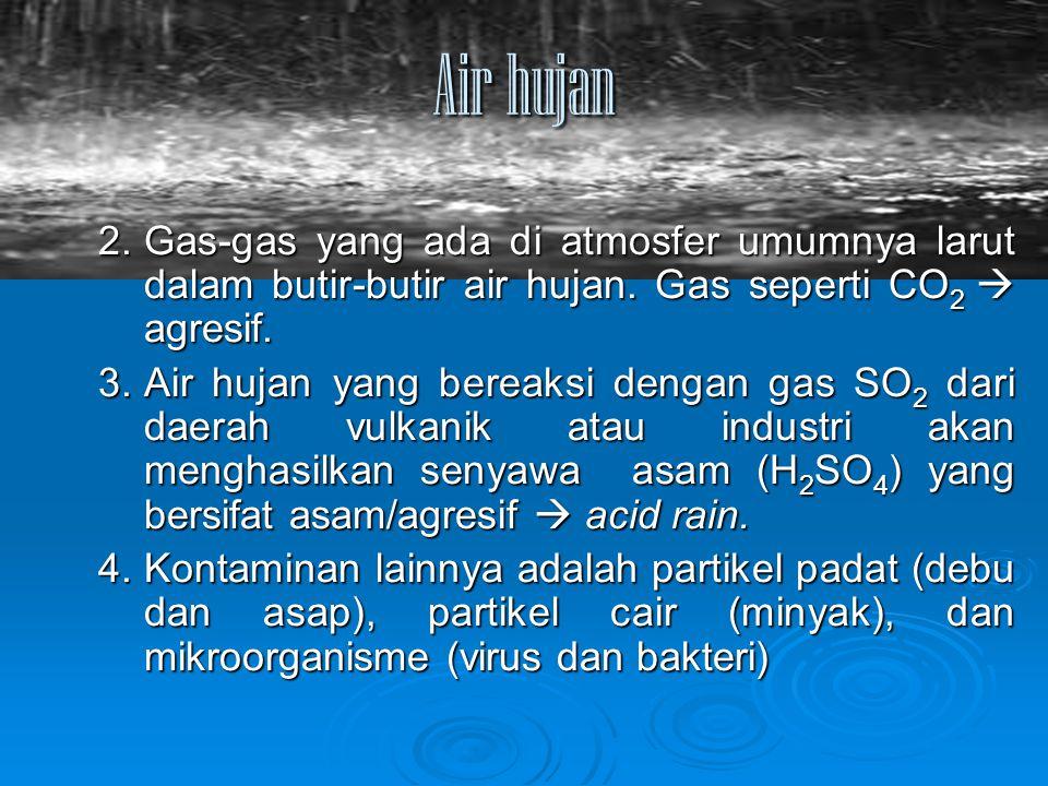 Air hujan 2.Gas-gas yang ada di atmosfer umumnya larut dalam butir-butir air hujan. Gas seperti CO 2  agresif. 3.Air hujan yang bereaksi dengan gas S