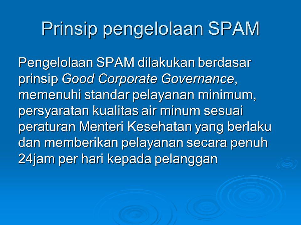 Prinsip pengelolaan SPAM Pengelolaan SPAM dilakukan berdasar prinsip Good Corporate Governance, memenuhi standar pelayanan minimum, persyaratan kualit
