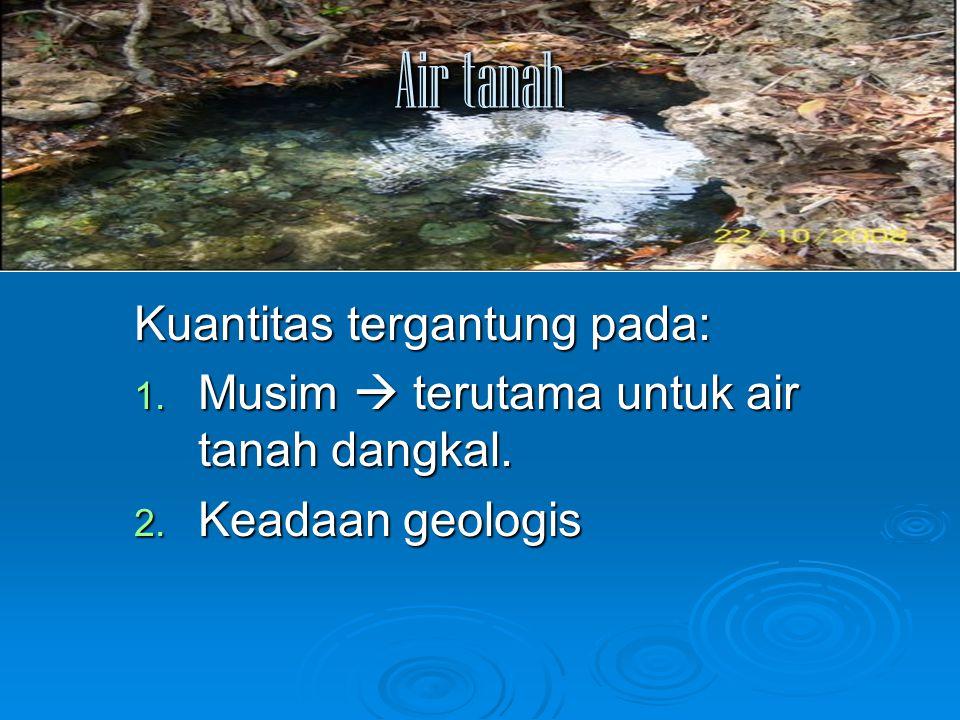Air tanah Kuantitas tergantung pada: 1. Musim  terutama untuk air tanah dangkal. 2. Keadaan geologis