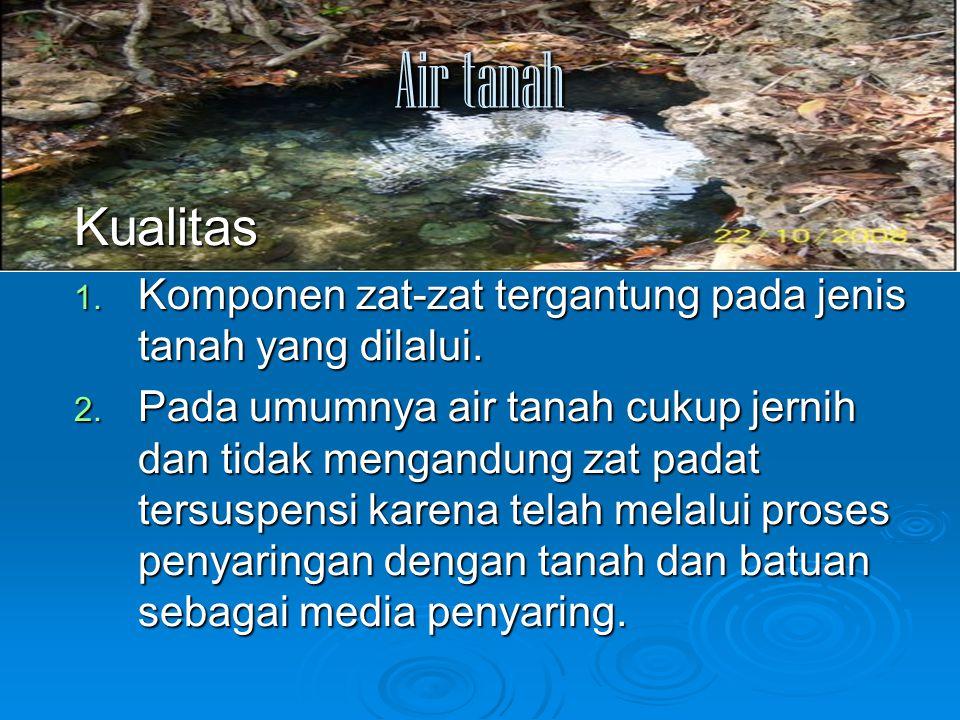 Air tanah Kualitas 1. Komponen zat-zat tergantung pada jenis tanah yang dilalui. 2. Pada umumnya air tanah cukup jernih dan tidak mengandung zat padat
