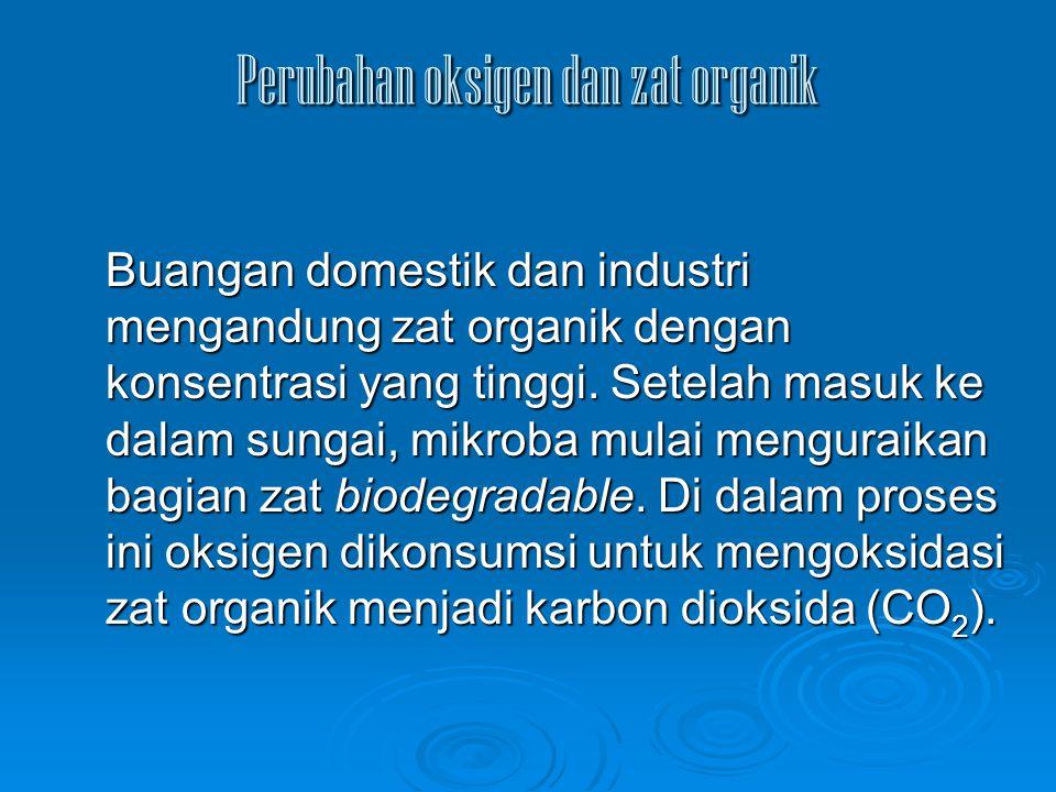 Perubahan oksigen dan zat organik Buangan domestik dan industri mengandung zat organik dengan konsentrasi yang tinggi. Setelah masuk ke dalam sungai,