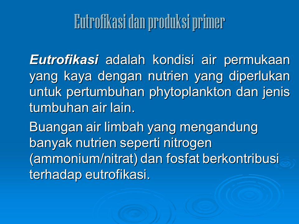 Eutrofikasi dan produksi primer Eutrofikasi adalah kondisi air permukaan yang kaya dengan nutrien yang diperlukan untuk pertumbuhan phytoplankton dan