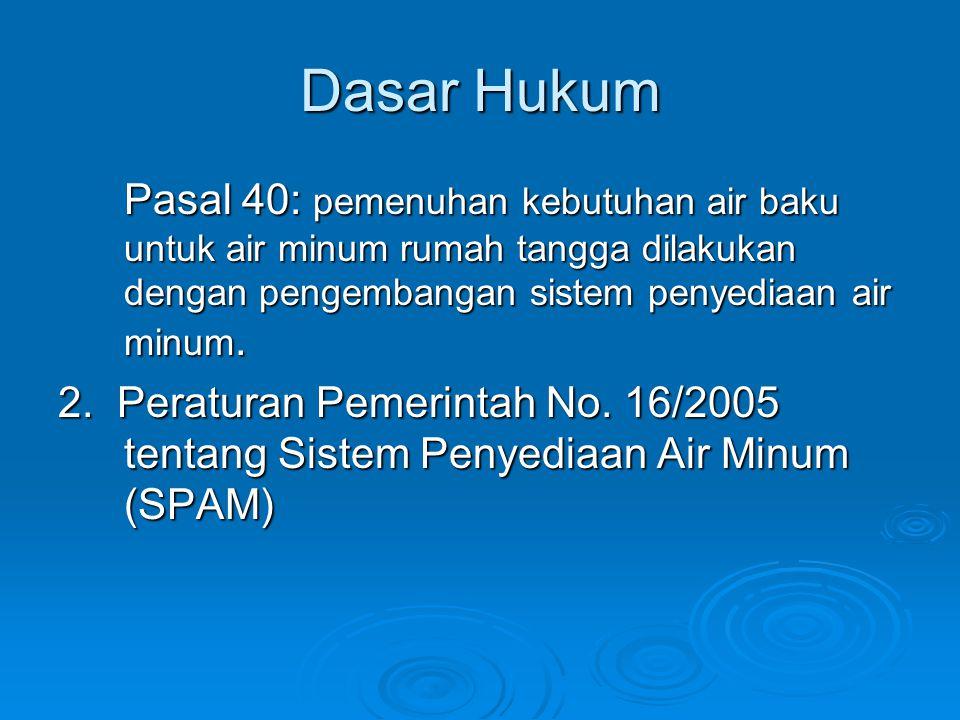Dasar Hukum Pasal 40: pemenuhan kebutuhan air baku untuk air minum rumah tangga dilakukan dengan pengembangan sistem penyediaan air minum. 2. Peratura