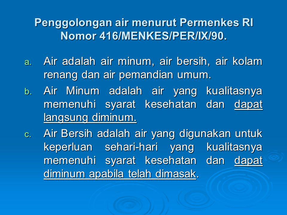 Penggolongan air menurut Permenkes RI Nomor 416/MENKES/PER/IX/90. a. Air adalah air minum, air bersih, air kolam renang dan air pemandian umum. b. Air