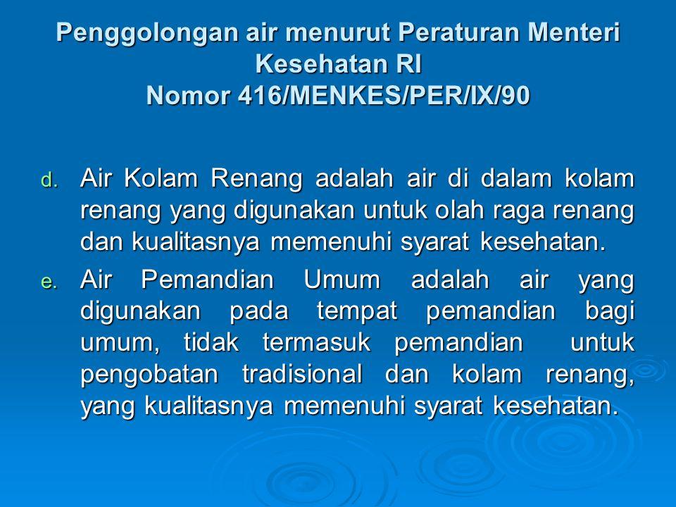 Penggolongan air menurut Peraturan Menteri Kesehatan RI Nomor 416/MENKES/PER/IX/90 d. Air Kolam Renang adalah air di dalam kolam renang yang digunakan