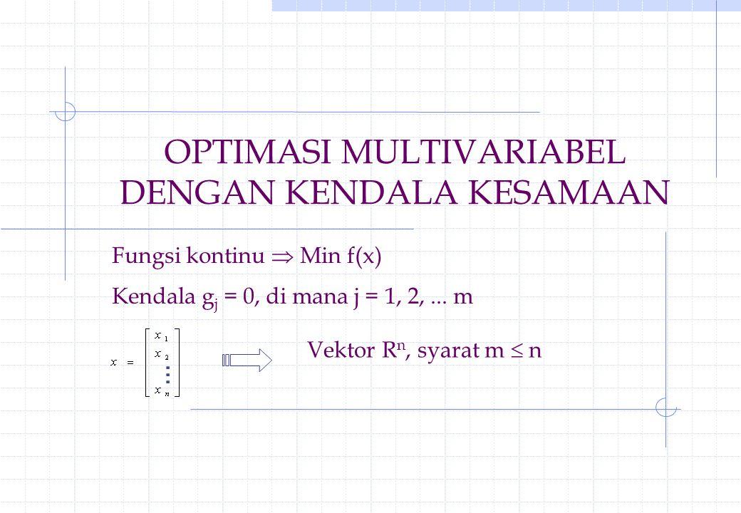 OPTIMASI MULTIVARIABEL DENGAN KENDALA KESAMAAN Fungsi kontinu  Min f(x) Kendala g j = 0, di mana j = 1, 2,... m Vektor R n, syarat m  n...