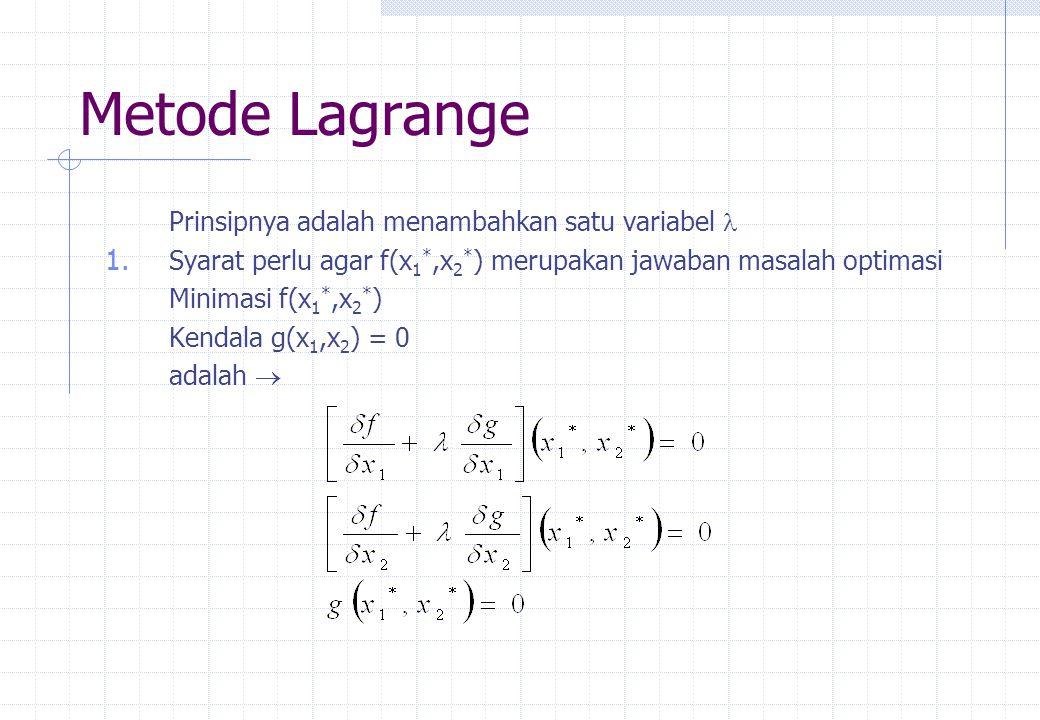 Metode Lagrange Prinsipnya adalah menambahkan satu variabel  1. Syarat perlu agar f(x 1 *,x 2 * ) merupakan jawaban masalah optimasi Minimasi f(x 1 *