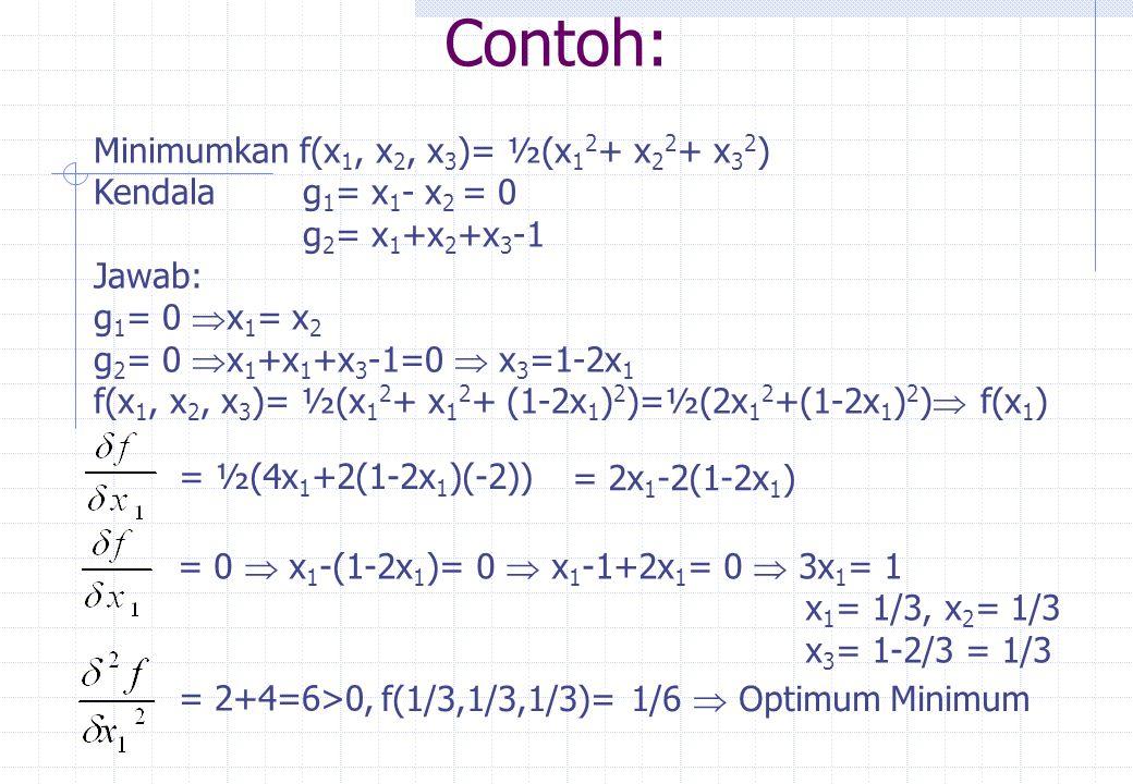 1.Minimasi f(x 1, x 2, x 3 ) = x 1 2 +x 2 2 + x 3 +40x 1 +20 x 2 -3000 Kendala g 1 = x 1 -50  0 g 2 = x 1 +x 2 -100  0 g 3 = x 1 +x 2 +x 3 -150  0 Syarat Kuhn-Tucker Contoh:  2x 1 +40+  1 +  2 +  3 = 0 2x 2 +20+  2 +  3 = 0 2x 3 +  3 = 0  j g j = 0, j = 1, 2, 3  1 (x 1 -50) = 0  2 (x 1 +x 2 -100) = 0  3 (x 1 +x 2 +x 3 -150) = 0  j  0, j = 1, 2, 3,  1  0,  2  0,  3  0 Dari  1 (x 1 -50) = 0   1 = 0 atau x 1 = 50