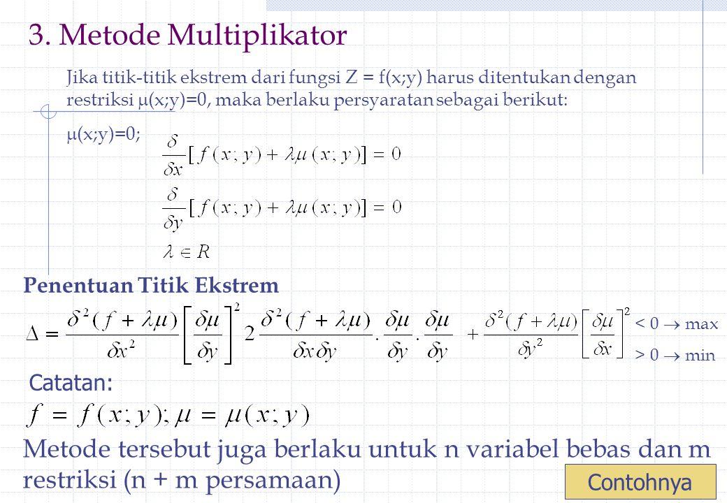 3. Metode Multiplikator Jika titik-titik ekstrem dari fungsi Z = f(x;y) harus ditentukan dengan restriksi  (x;y)=0, maka berlaku persyaratan sebagai