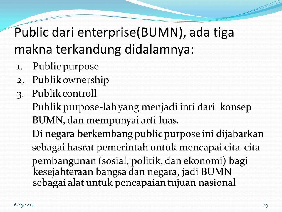 Public dari enterprise(BUMN), ada tiga makna terkandung didalamnya: 1.