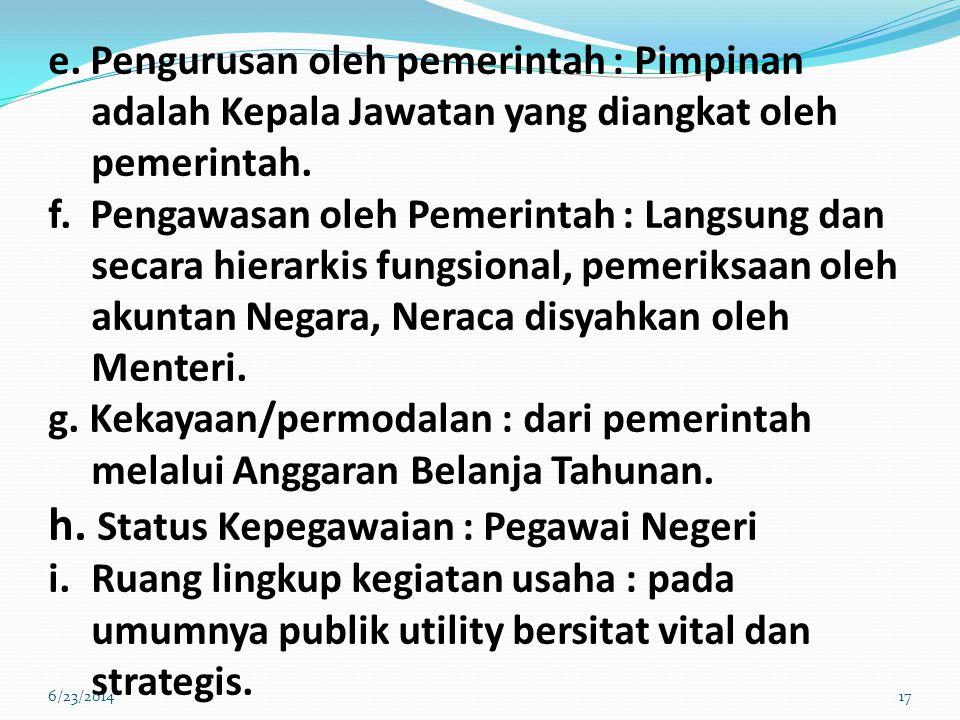 e.Pengurusan oleh pemerintah : Pimpinan adalah Kepala Jawatan yang diangkat oleh pemerintah.
