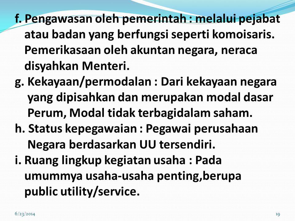 f.Pengawasan oleh pemerintah : melalui pejabat atau badan yang berfungsi seperti komoisaris.