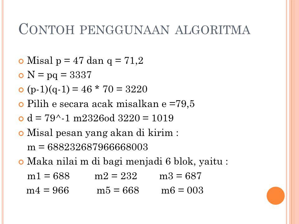 C ONTOH PENGGUNAAN ALGORITMA Misal p = 47 dan q = 71,2 N = pq = 3337 (p-1)(q-1) = 46 * 70 = 3220 Pilih e secara acak misalkan e =79,5 d = 79^-1 m2326od 3220 = 1019 Misal pesan yang akan di kirim : m = 688232687966668003 Maka nilai m di bagi menjadi 6 blok, yaitu : m1 = 688 m2 = 232 m3 = 687 m4 = 966 m5 = 668 m6 = 003