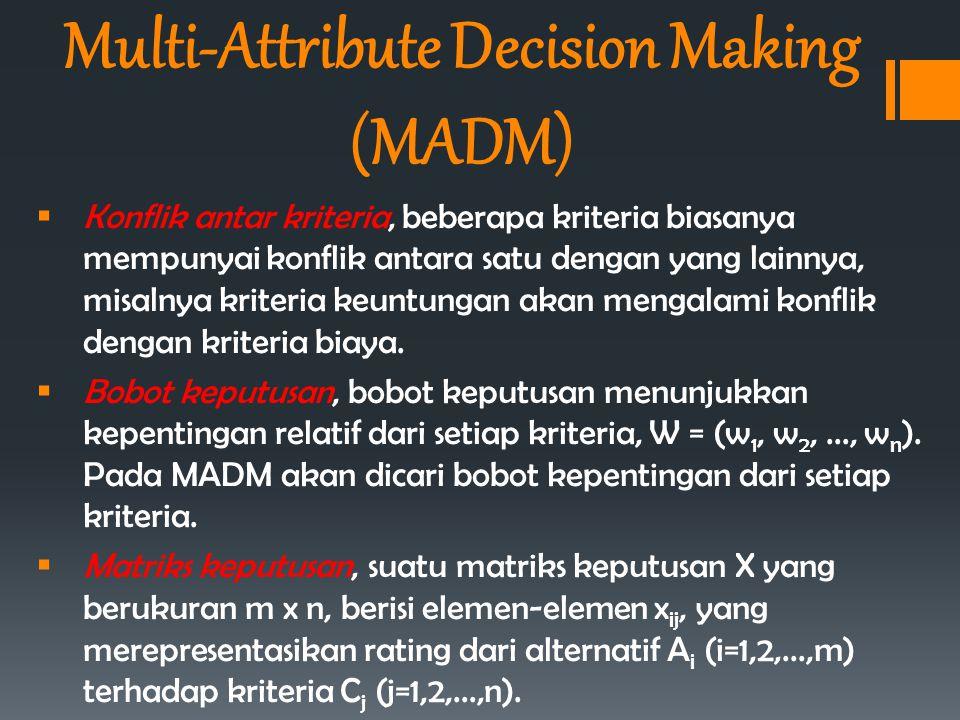  Konflik antar kriteria, beberapa kriteria biasanya mempunyai konflik antara satu dengan yang lainnya, misalnya kriteria keuntungan akan mengalami ko