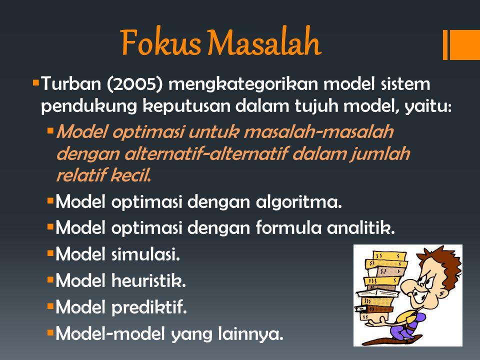 Fokus Masalah  Turban (2005) mengkategorikan model sistem pendukung keputusan dalam tujuh model, yaitu:  Model optimasi untuk masalah-masalah dengan