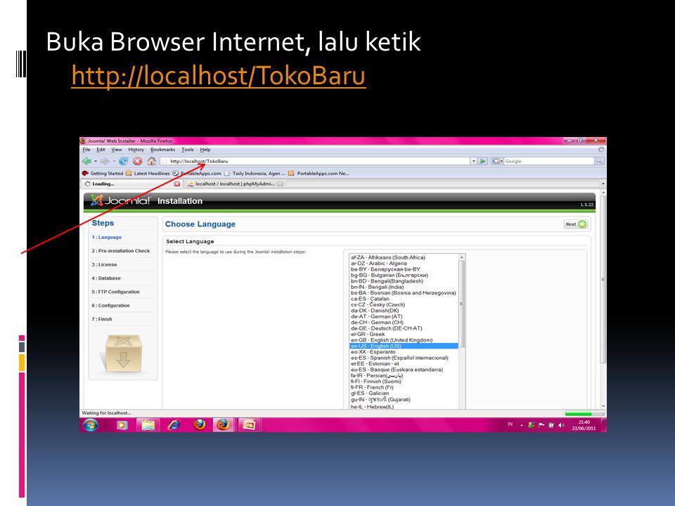 Buka Browser Internet, lalu ketik http://localhost/TokoBaru http://localhost/TokoBaru