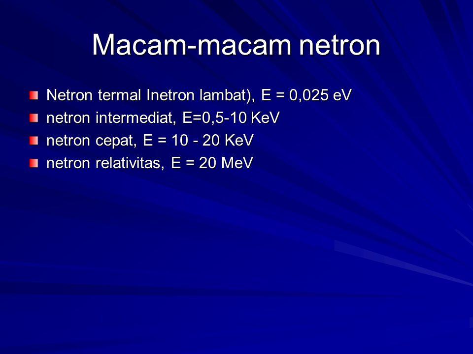 Macam-macam netron Netron termal Inetron lambat), E = 0,025 eV netron intermediat, E=0,5-10 KeV netron cepat, E = 10 - 20 KeV netron relativitas, E =