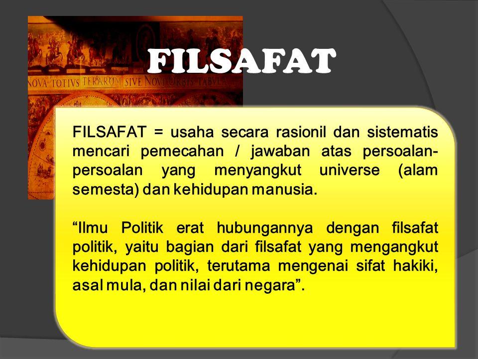 FILSAFAT FILSAFAT = usaha secara rasionil dan sistematis mencari pemecahan / jawaban atas persoalan- persoalan yang menyangkut universe (alam semesta) dan kehidupan manusia.
