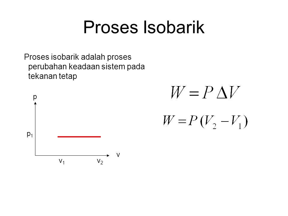 Proses Isobarik Proses isobarik adalah proses perubahan keadaan sistem pada tekanan tetap v1v1 v p v2v2 p1p1