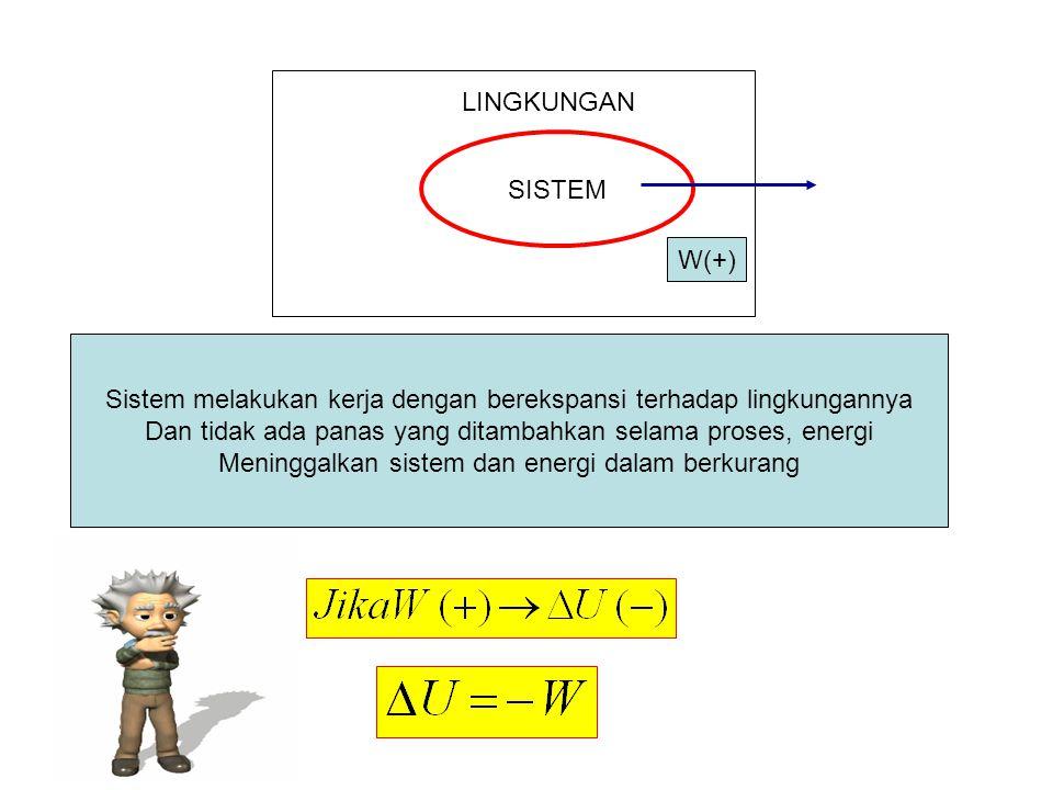 SISTEM LINGKUNGAN W(+) Sistem melakukan kerja dengan berekspansi terhadap lingkungannya Dan tidak ada panas yang ditambahkan selama proses, energi Men