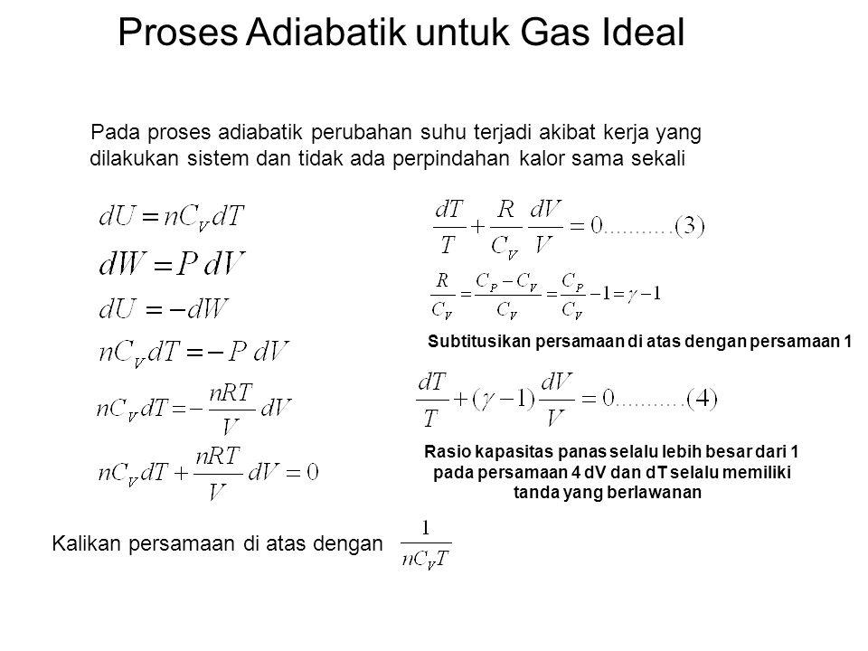 Proses Adiabatik untuk Gas Ideal Pada proses adiabatik perubahan suhu terjadi akibat kerja yang dilakukan sistem dan tidak ada perpindahan kalor sama