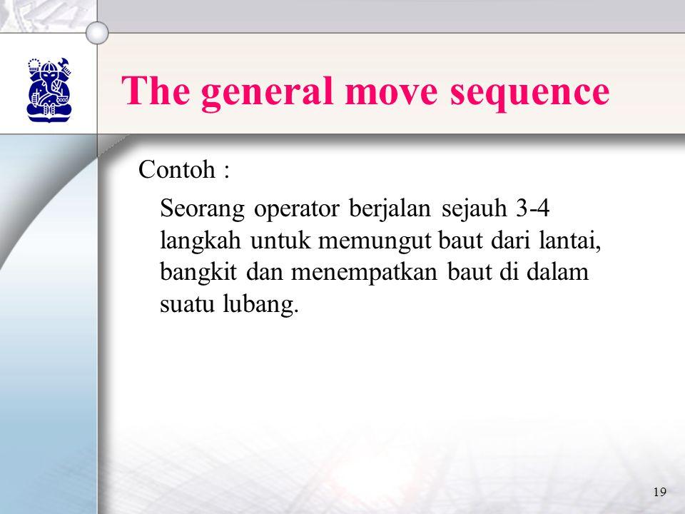 19 The general move sequence Contoh : Seorang operator berjalan sejauh 3-4 langkah untuk memungut baut dari lantai, bangkit dan menempatkan baut di dalam suatu lubang.