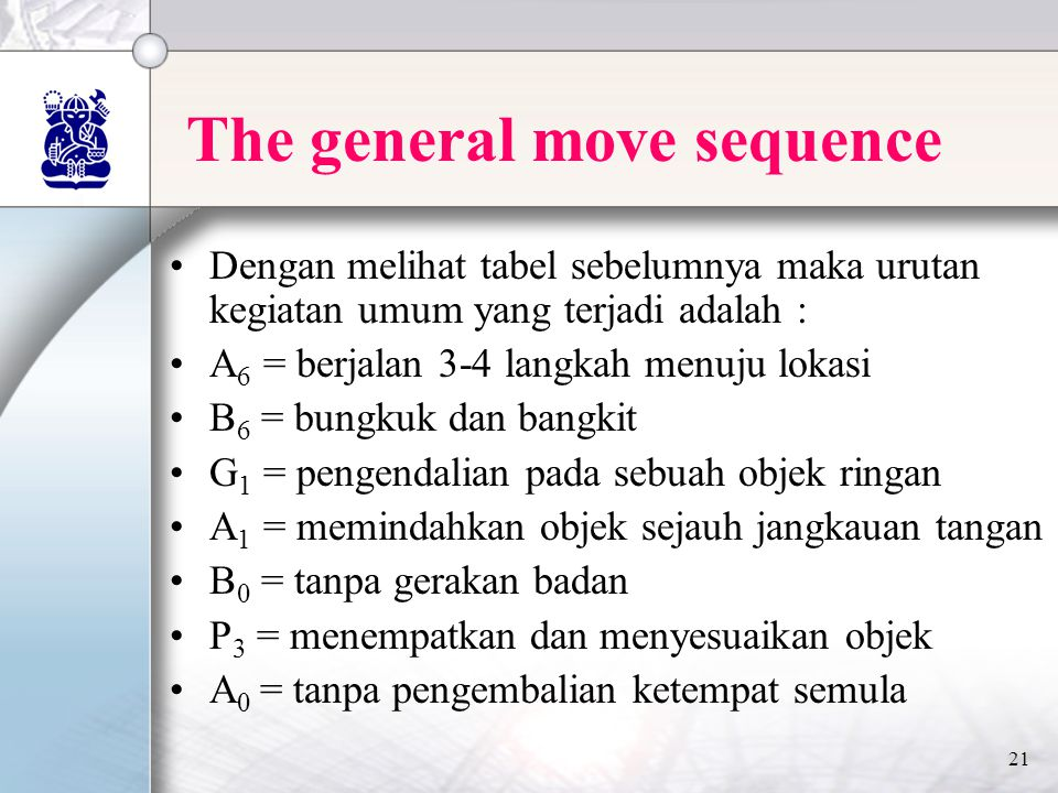 21 The general move sequence •Dengan melihat tabel sebelumnya maka urutan kegiatan umum yang terjadi adalah : •A 6 = berjalan 3-4 langkah menuju lokasi •B 6 = bungkuk dan bangkit •G 1 = pengendalian pada sebuah objek ringan •A 1 = memindahkan objek sejauh jangkauan tangan •B 0 = tanpa gerakan badan •P 3 = menempatkan dan menyesuaikan objek •A 0 = tanpa pengembalian ketempat semula